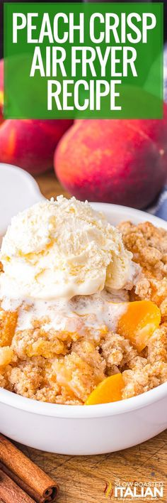 This peach crisp recipe uses canned fruit and pantry staples to create a tasty sweet treat. Enjoy this easy air fryer dessert year round! Fun Easy Recipes, Best Dessert Recipes, Sweet Desserts, Easy Desserts, Sweet Recipes, Delicious Desserts, Yummy Food, Dessert Ideas, Summer Recipes