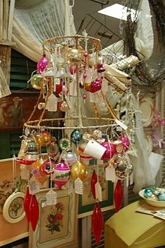 Vintage lamp shade christmas tree