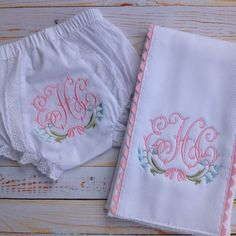 This listing is for a beautifully monogrammed baby gift set featuring a delicate bluebell motif. The set includes a bloomer/diaper cover in your choice of size (size mos, size mos, or size mos) and a burp cloth. The burp cloth is lined with cotton pique Applique Monogram, Baby Monogram, Embroidery Applique, Embroidery Patterns, Machine Embroidery, Machine Applique, Custom Embroidery, Welcome Home Baby, Easy Baby Blanket