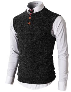 H2H Mens Knitted Sweater Vest With Two Button On The Neckline (KMOV026)