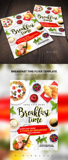 Breakfast Time Flyer — Photoshop PSD #breakfast menu #scrambled eggs • Available here → https://graphicriver.net/item/breakfast-time-flyer/17317155?ref=pxcr