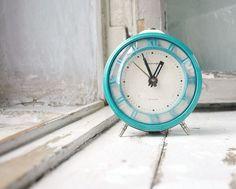 Vintage desk clock Jantar Blue mint vintage clock by Grannysbox