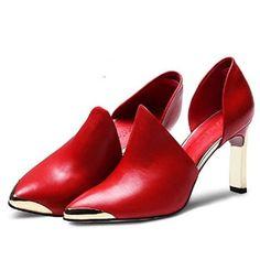 Soft genuine leather high heels women pumps- www.jhodaj.com