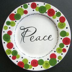 Custom Personalized PEACE Christmas Plate. $38.75, via Etsy.