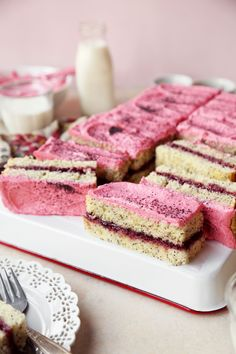 Raspberry Lemon Poppy Seed Snacking Cake is a delicious homemade lemon poppy seed cake, filled with raspberry jam, and topped with a raspberry buttercream. It's a great snacking cake, for when you're craving a small slice of cake that packs a punch of flavor!