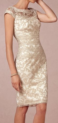 Lace pencil dress. Maybe for the bride's mom