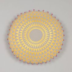 Concentric Cushion in Chartreuse and Dove Grey   www.niki-jones.co.uk