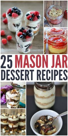 There is nothing than a delicious dessert in a fun and cute mason jar! Here are … There is nothing than a delicious dessert in a fun and cute mason jar! Here are 25 Mason Jar Recipes that are great for parties and sharing! Mini Desserts, Desserts Nutella, Easy Desserts, Delicious Desserts, Desserts Jar, Mini Dessert Recipes, Dessert Healthy, Wedding Desserts, Fruit Recipes