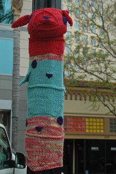 Cute yarn bombing