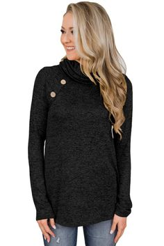 Black Charming Ways Cowl Neck Button up Top, Tunic Tops, Wholesale Tunic Tops, Affordable Tunic Tops One Piece Bikini, Cowl Neck Top, Yellow Black, Wholesale Clothing, Jeans And Boots, Black Tops, Button Up, Long Sleeve Tops, Tunic Tops