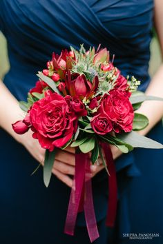 Navy blue, gold and burgundy wedding flowers and bridesmaids dresses. #marsalaweddings #marsalabouquets  Garden Gate Florals and Shipra Panosian Photography-Orlando