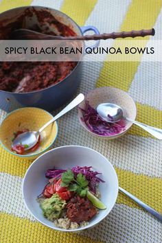 Spicy Black Bean Quinoa Bowls: a bright, fresh, and delicious way to eat a bunch of healthy stuff ;-)