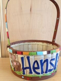 Handpainted Personalized Easter Baskets. $42.00, via Etsy.