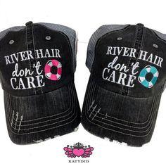 "HAT - BASEBALL TRUCKER HAT - ""RIVER HAIR DON'T CARE"" - AQUA BLUE FLOATY"