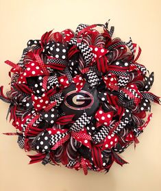 Your place to buy and sell all things handmade Georgia Bulldog Wreath, Georgia Bulldogs, Football Wreath, Football Decor, Georgia Wreaths, Black Wreath, University Of Georgia, Wreaths For Front Door, Mesh Wreaths