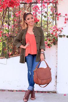 Brown Sandals: ✔ Jeans: ✔ Brown Hobo Bag: * Olive Jacket: ✔ Coral Shirt: ✔ Gold Necklaces: ✔