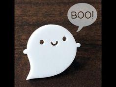 Little Ghost Kawaii Acrylic Brooch by askingfortrouble on Etsy Kawaii Halloween, Halloween Uk, Halloween Contacts, Halloween Items, Ghost Tattoo, Cute Ghost, Boo Ghost, Kawaii Shop, Diy Clay
