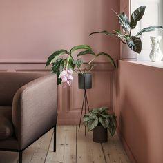 Support plante Ferm Living sur pied en fer noir pour une décoration fleurie et végatale dans le salon peint en pourpre pâle.