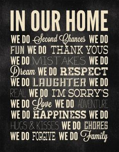In our home...