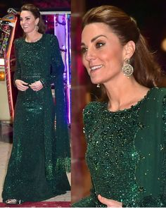 Glittering in the moonlight! #katemiddleton dons the national shade of #Pakistan and looks stunning tonight. #duchess #duchessofcambridge…