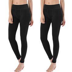 Womens Full Length Fleece Lining Thermal Winter Warm Fashion High-elastic stretch Leggings (2Pack (Black/Black))