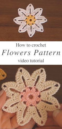 This gorgeous crochet flower pattern is creative and decorative for so many projects. Crochet flowers makes the perfect embellishment for accessories! Granny Square Crochet Pattern, Crochet Flower Patterns, Crochet Patterns For Beginners, Crochet Motif, Crochet Designs, Crochet Doilies, Easy Crochet, Crochet Flowers, Knitting Patterns