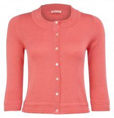 "Tania - ""Aurora Green"" 3/4 Sleeve Knit Cotton Cashmere Cardigan £350.00"