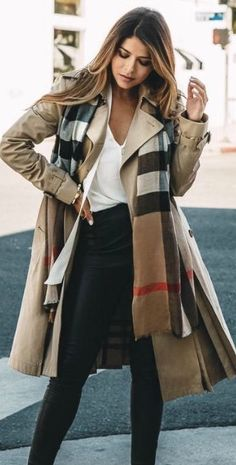 #Winter #Outfits / Beige Trench Coat + Leather Leggings
