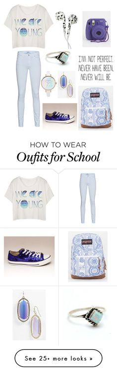 """""""school"""" by xheba626x on Polyvore featuring 7 For All Mankind, JanSport, Kendra Scott and Child Of Wild"""