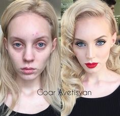 Goar Avetisyan is a 22-years-old gifted make-up artist of a particular kind. Her models are barely recognizable after Goar has had them under her paintbrush. See below 28 impressive transformations: 'No operations, but simply untruthful make-up. One just needs to know how.