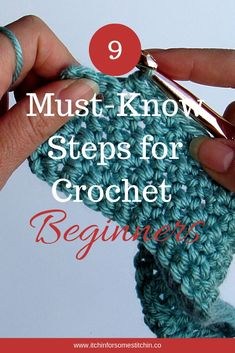 Want to learn to crochet This is a must have guide to the 9 basic steps every absolute crochet beginner must know Improve your crochet skills today and go from crochet clueless to crochet confident howtocrochet crochetbeginner crochettutorial crochetguide Crochet Stitches For Beginners, Beginner Crochet Tutorial, Beginner Crochet Projects, Crochet Basics, Knitting For Beginners, Knitting Projects, Knitting Patterns, Step By Step Crochet, Basic Crochet Stitches