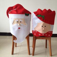 Cheap 1 UNID Encantadora Mr & Mrs Santa Claus Navidad Comedor Silla cubierta…