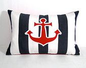 Nautical Pillow Cover - Anchor - Outdoor Indoor - Red White Blue - Stripe - Coastal Decorative Navy Striped - Sunbrella Cushion - 12X18 inch