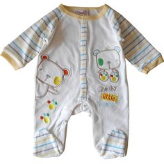 0-3 Months - Baby Boys Sleepsuit Babygrow - Gorgeous Cream & Multi-coloured Cheeky Little Bears / Babies Clothes: Amazon.co.uk: Baby