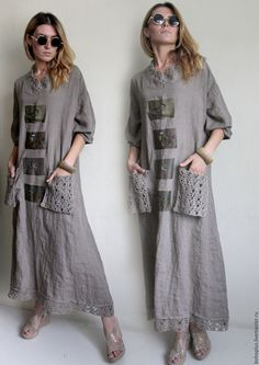 long gray linen dress with pockets and black design