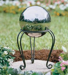 Stainless Steel Gazing Ball with Iron Scroll Stand