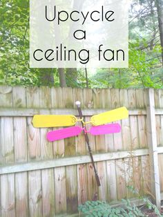 Upcycle ceiling fan blades into a dragonfly for garden decor or yard art. #repurpose #upcycle