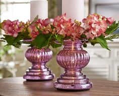 H208606 - Set of Two Mercury Glass Pedestals Illuminate and are available in a number of colors!