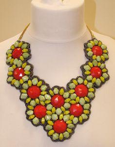 Floral statement bib necklace £14.60 FREE POSTAGE