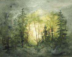Paisaje pintura archivo imprimir acuarela, bosque pintura, bosque acuarela, arte acuarela, bosque pintura, paisaje arte árbol.
