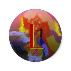 """""""Bright Colors"""" - customizable Abstract Classic Round Sticker. Change the letter to your own initial. Cool gifts with many uses."""