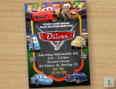 Disney Cars Birthday Invitation ------------------------------------------ Personalized their birthday special with this unique Birthday Party Invitation! This listing is for one digital invitation personalized with your event details. You will receive a printable JPG file via email, no physical items will be shipped. You will be responsible for the printing of your invitations. How it Works (Easy) ▸ Add item(s) to your cart and complete checkout. ▸ Before completing payment, please submi...