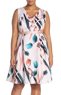 Floral Plus Size Fit & Flare Dress, click here http://fave.co/1qFkpvk