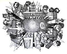 Ilustrações que desafiam a realidade arquitetônica,Plaza Mayor Vieja Aldea. Image Courtesy of Juan Luis López
