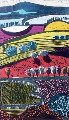 Vale - Version 3 of Liz Somerville Landscape Illustration, Graphic Design Illustration, Watercolor Illustration, Linocut Prints, Art Prints, Block Prints, Painting & Drawing, Encaustic Painting, Linoprint