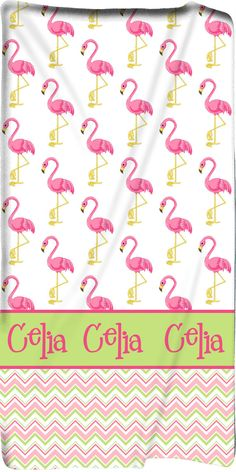 Personalized Custom Pink Flamingo & Chevron Beach Towel -Any Background Design and accent colors with Personalization of your choice