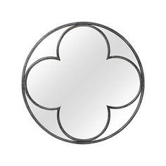 """Quatrefoil 43"""" Round Mirror in Silver"""
