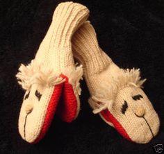 deLux ~ LAMBCHOP MITTENS knit ADULT Lamb Chop FLEECE LINED puppet animal costume #handmade