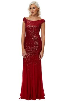 Stephanie Pratt – Sequin and Chiffon Maxi Dress - Red - Front - DR1168