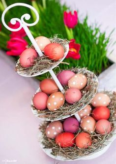 But gold. Cake stand turned into easter egg stand! Cute display!!